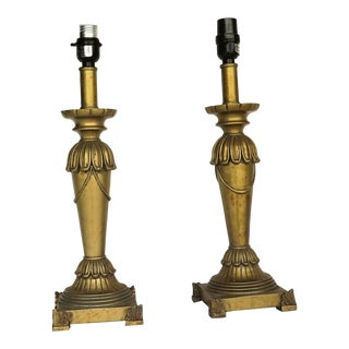 1960s Vintage Wooden Egyptian Style Lamps - a Pair For Sale