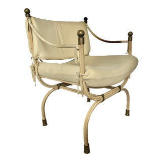1980s Savonarola Suede and Iron Chair For Sale