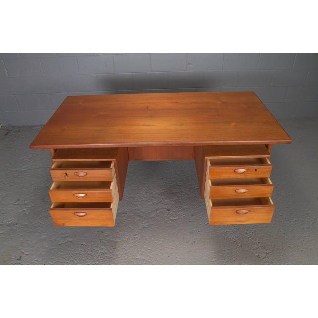 1960s Danish Teak Desk With Floating Top by Kai Kristensen For Sale - Image 5 of 10