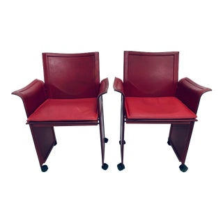 Pair of Tito Agnoli Korium Red Leather Armchairs Chairs for Matteo Grassi For Sale