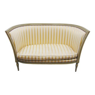 Louis XIV Style Bellflower Carved Painted Loveseat For Sale