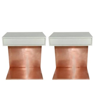 Mid-Century Modern Shagreen and Copper Side Tables - a Pair For Sale