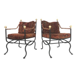 Pair of Italian Hollywood Regency Savonarola Chairs For Sale