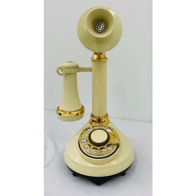 Fabulous Vintage Mid Century Era Hollywood Regency Style Old Fashioned Rotary Dial Telephone. Original creamy white...