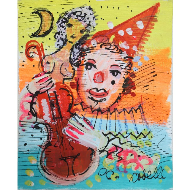 Charles Cobelle, Clown 6 , Acrylic on Canvas, Signed Lower Right For Sale