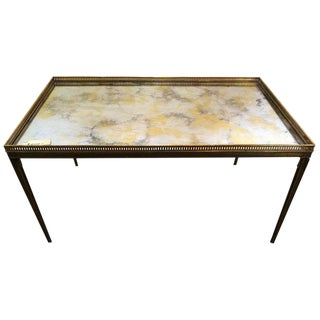Hollywood Regency Jansen Paris Labelled Bronze Stamped Coffee Table For Sale