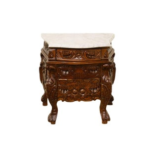 1920's Antique Ornate Gothic Revival Jacobean Marble Top Nightstand For Sale