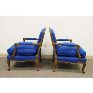 1960s Vintage Baker Furniture Provincial French Country Louis XV Blue Bergere Arm Chairs- A Pair Preview