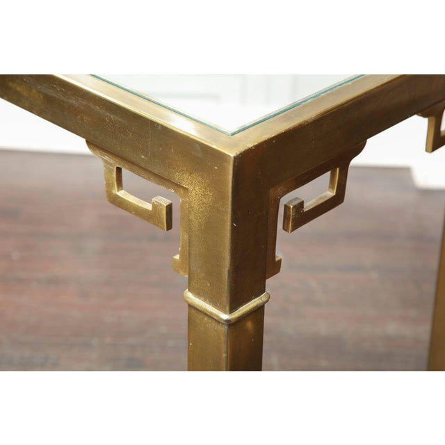 1970s Vintage Mastercraft Brass Console For Sale - Image 5 of 6