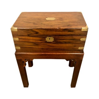 19th Century Vintage English Mahogany Lap Desk on Stand For Sale