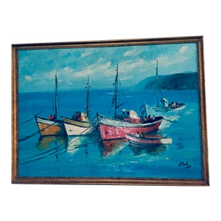 Vintage Mid Century Modern Boats in a Harbor Signed Framed For Sale