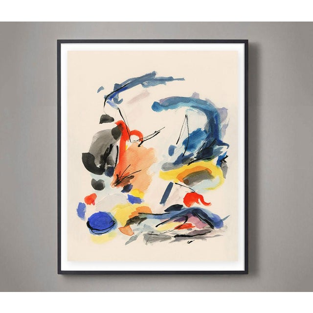 Mid-Century Modern Mid-Century Modern Colorful Print With Primary Colors - Unframed Giclée on Watercolor Paper For Sale - Image 3 of 6