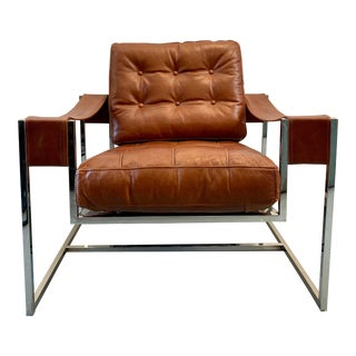 Cognac Leather and Chrome Chair For Sale