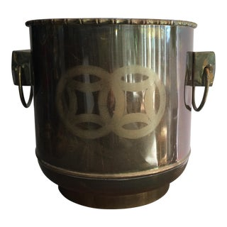 1970s Vintage James Mont Style Asian Brass Planter For Sale