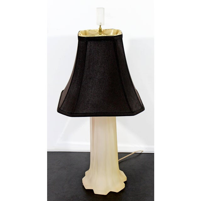 For your consideration is a beautiful, frosted resin table lamp with its original finial, designed and signed by Italian...