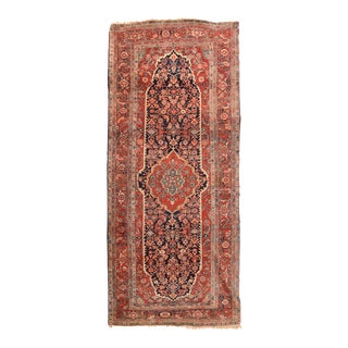 Antique Rust Persian Heriz Serapi Area Rug For Sale