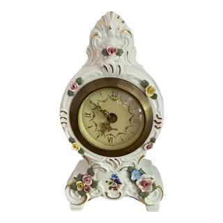 Vintage 1940s Dresden Mercedes Porcelain Mantel Clock For Sale