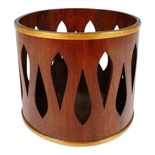 Jens Quistgaard for Dansk Staved Teak Wastebasket For Sale