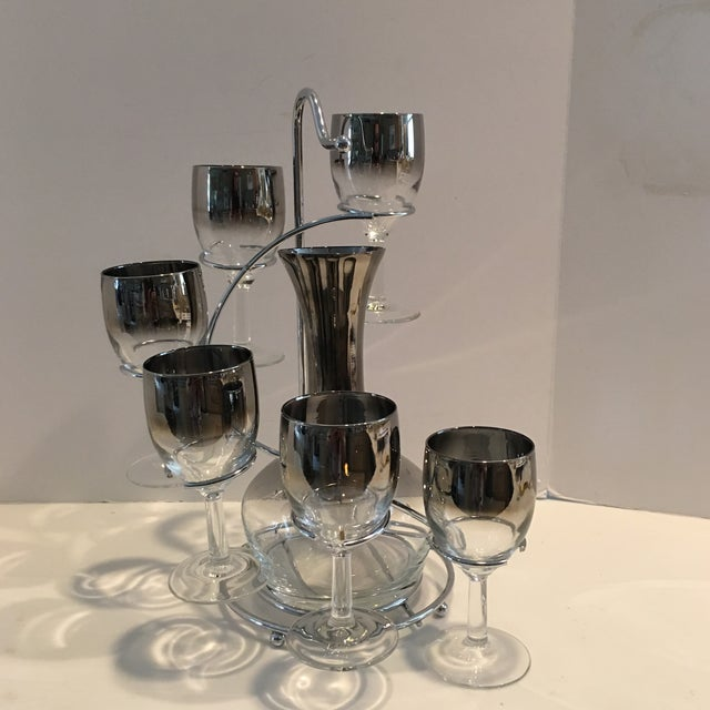 Vintage Mid Century Wine Decanter & Glasses- 7 Pieces For Sale In Detroit - Image 6 of 9