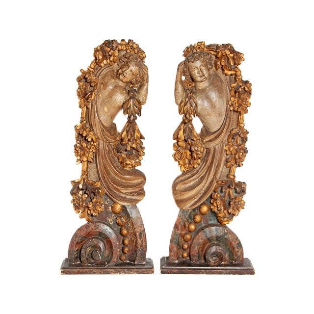 Pair of Italian Polychromed Male Figures / Torsos For Sale - Image 13 of 13