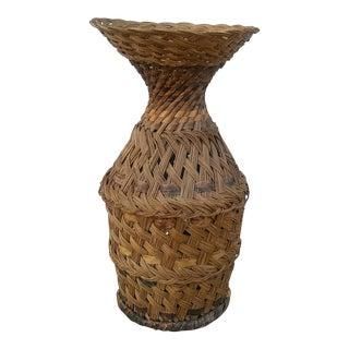 Vintage Bohemian Basket Floor Vase