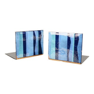 Vintage Mid-Century Robert Wuersch Modernist Enamel on Copper Bookends - A Pair For Sale