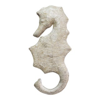 1980s Capiz Shell Seahorse Wall Sculpture For Sale