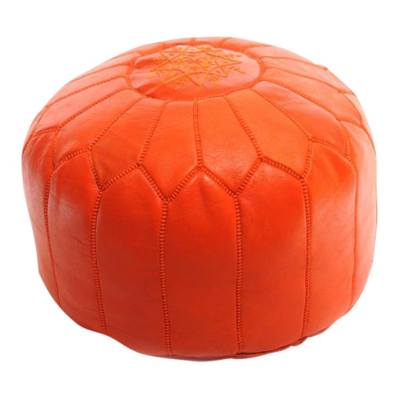 Handmade Moroccan Leather Pouf Authentic Ottoman - Image 1 of 3