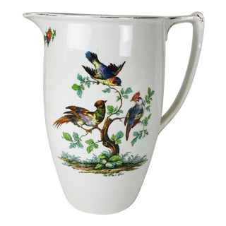 Late 20th Century Colorful Floral Birds English Porcelain Large Pitcher For Sale