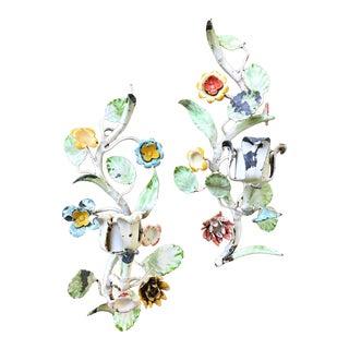 Antique Italian Floral Tole Candle Sconces - a Pair For Sale