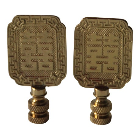 Asian Style Brass Lamp Finials - A Pair - Image 1 of 4