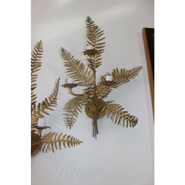 Mid-Century Sconces Fern Motif - a Set of 2 For Sale In West Palm - Image 6 of 13