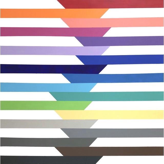 Blue 'Spectra' Original Op Art Painting by Linnea Heide For Sale - Image 8 of 8