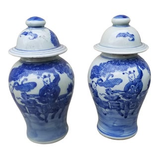 Pair Hand Painted Chinese Lidded Vases For Sale