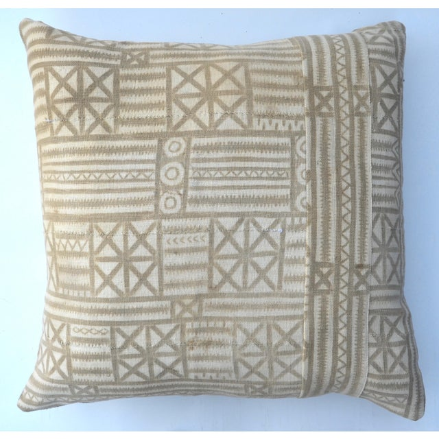 Boho Chic Vintage Traditional Mud Cloth Pillow Pair 24 X 24 For Sale - Image 3 of 7