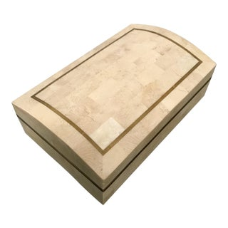 Maitland-Smith Tessellated Stone & Brass Box