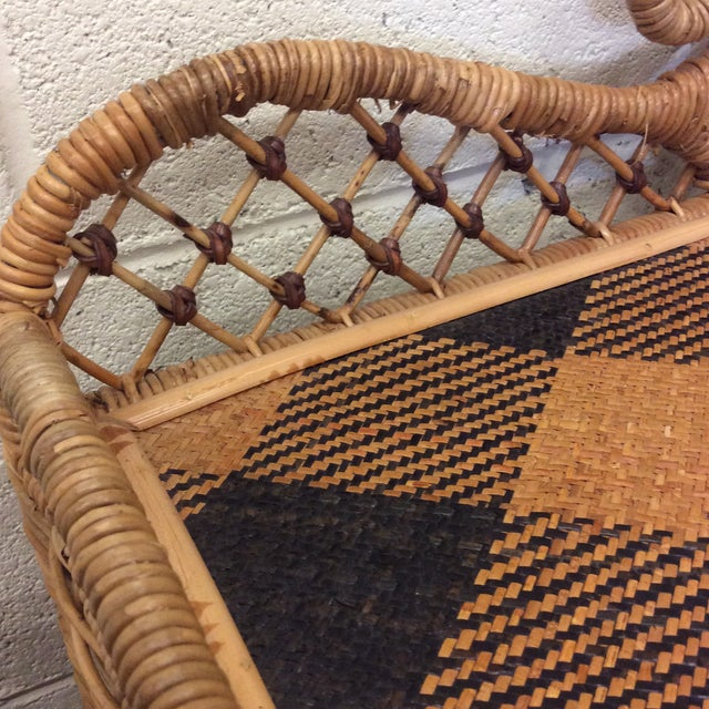 Retired MacKenzie Childs Ajiro Weave Wicker Rattan Scrolled Bed Tray For Sale In Richmond - Image 6 of 11