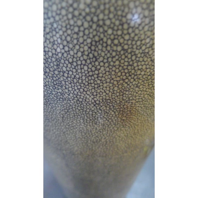 Mid-to-later 20th Century Chinese Modern floor vase in a shagreen pattern with texture and with crackle glaze. Mark...