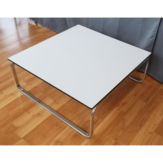 cf2fa85f12d2e Mid-Century Modern Large Square Coffee Table With Chrome Base White Top For  Sale -