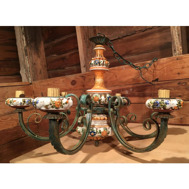 White Vintage Italian Tole Painted Pottery Chandelier For Sale - Image 8 of 8