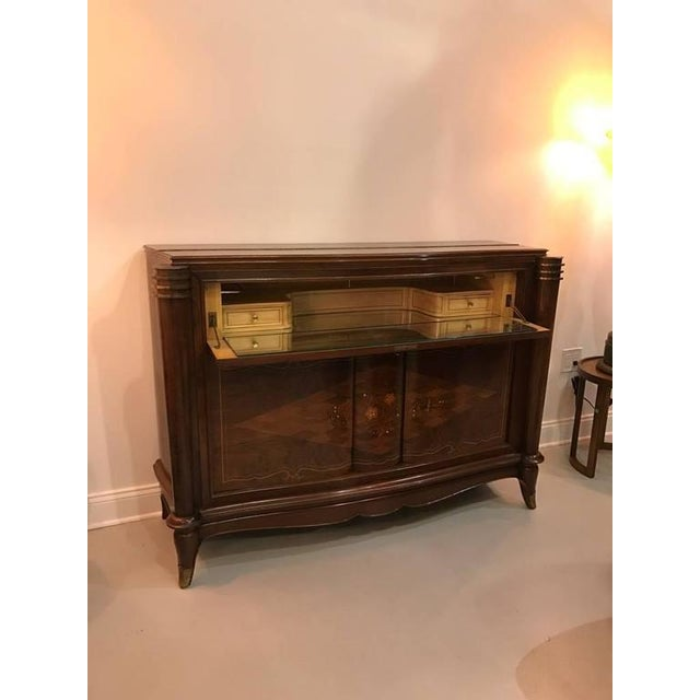 Art Deco Jules Leleu Style French Art Deco Dry Bar For Sale - Image 3 of 10