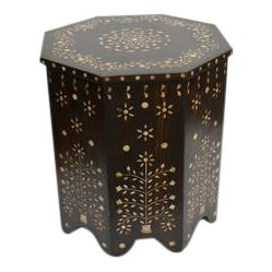 Indian Octagonal Wooden Bone Inlay Side Table - Dark For Sale