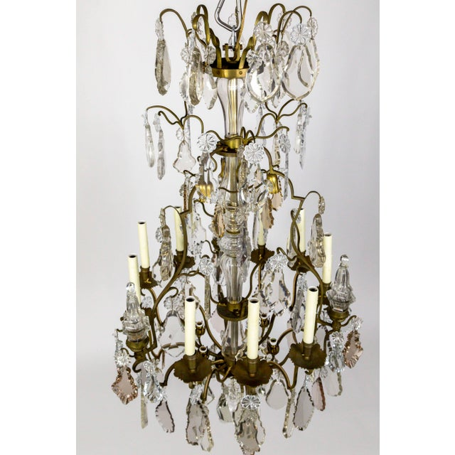 Tall Bronze Belle Epoque 21-Light Chandelier W/ Smoke & Mauve Crystals For Sale - Image 4 of 13