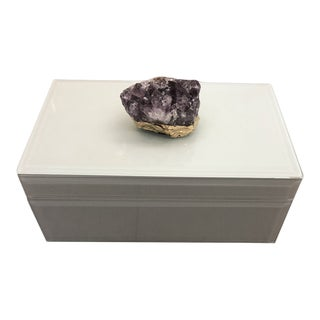 Amethyst Geode Hinged White Glass Box With Velvet Lining For Sale