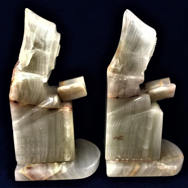 Carved Onyx Monk Book Ends - a Pair For Sale - Image 4 of 5