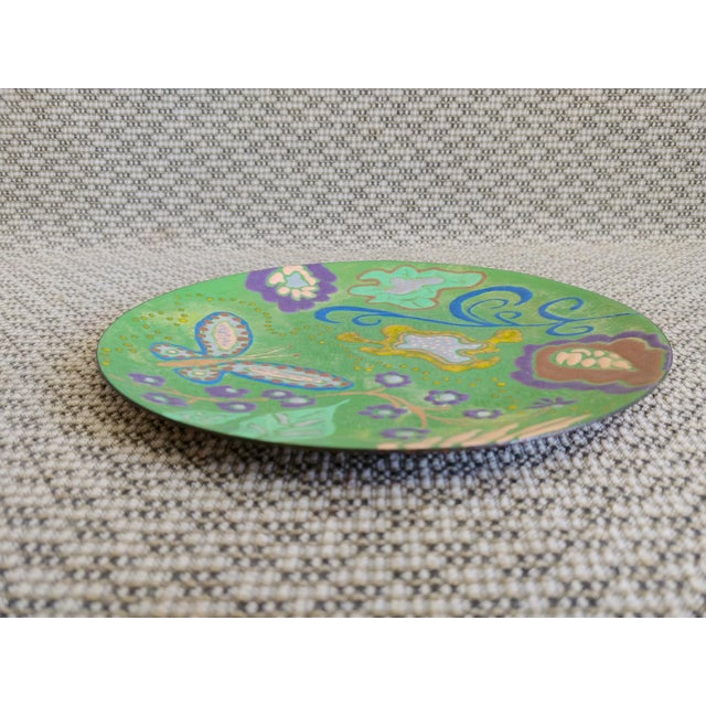Abstract Enamel on Copper Butterfly Dish For Sale - Image 4 of 7