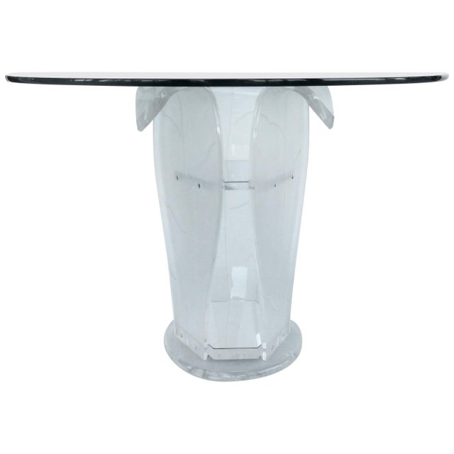 Glass Round Lucite Pedestal Table With Glass Top For Sale - Image 7 of 7