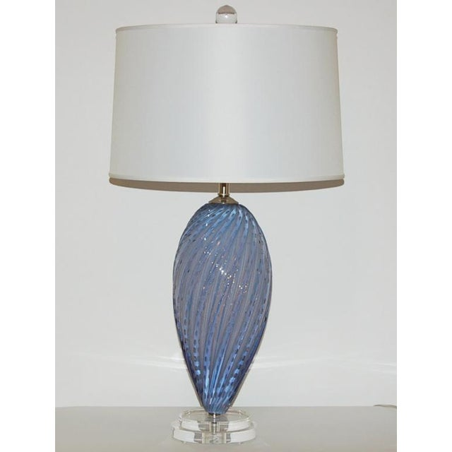 Hollywood Regency Vintage Murano Opaline Glass Table Lamps Lavender- a Pair For Sale - Image 3 of 6