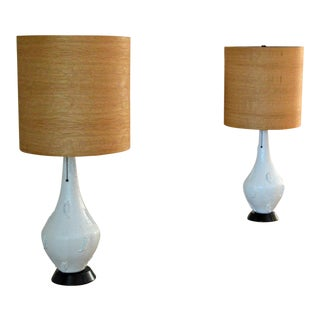 Vintage Mid-Century Modern Lamp With Wood Lampshade - a Pair
