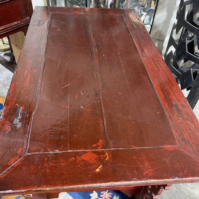 Brick Red Vintage Chinese Alter Table Desk For Sale - Image 8 of 12